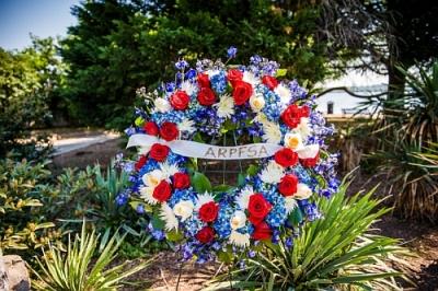 Wreath at fallen officer memorial