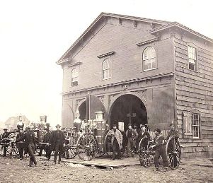 U.S. Fire Department, Alexandria, Va., with steam fire engines, July 1863, Andrew J. Russell, photographer. (Library of Congress)