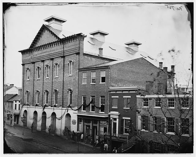 Ford's Theatre, 1865.  Note windows draped with mourning crepe. (Library of Congress)