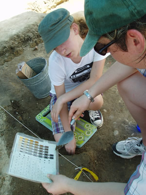 Summer Campers learn how to describe soil layers. Courtesy, Alexandria Archaeology.