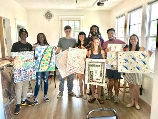 Artist Khalid Thompson and workshop participants.